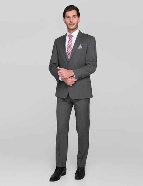 Traje JBE corte regular fit lana gris jaspeado 134fc675e85