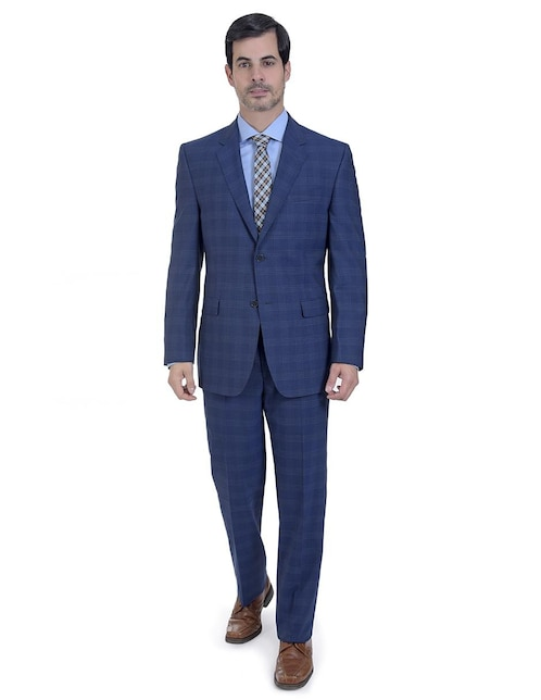 8e3cb7621c Traje de vestir Calvin Klein corte regular fit lana azul a cuadros